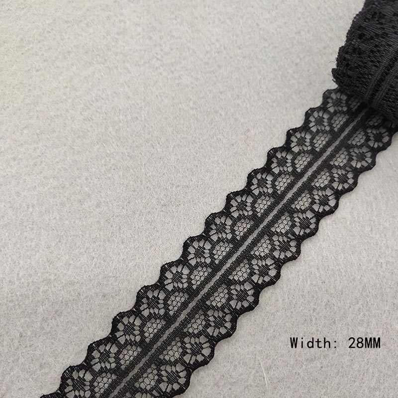 美しい 10 ヤード/ロット黒レースリボンテープ品質レーストリム DIY 刺繍縫製装飾アフリカレース生地