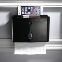 Punch free American black toilet paper tray roll holder tissue box tissue holder PVC plastic tray wall hanging LO67337