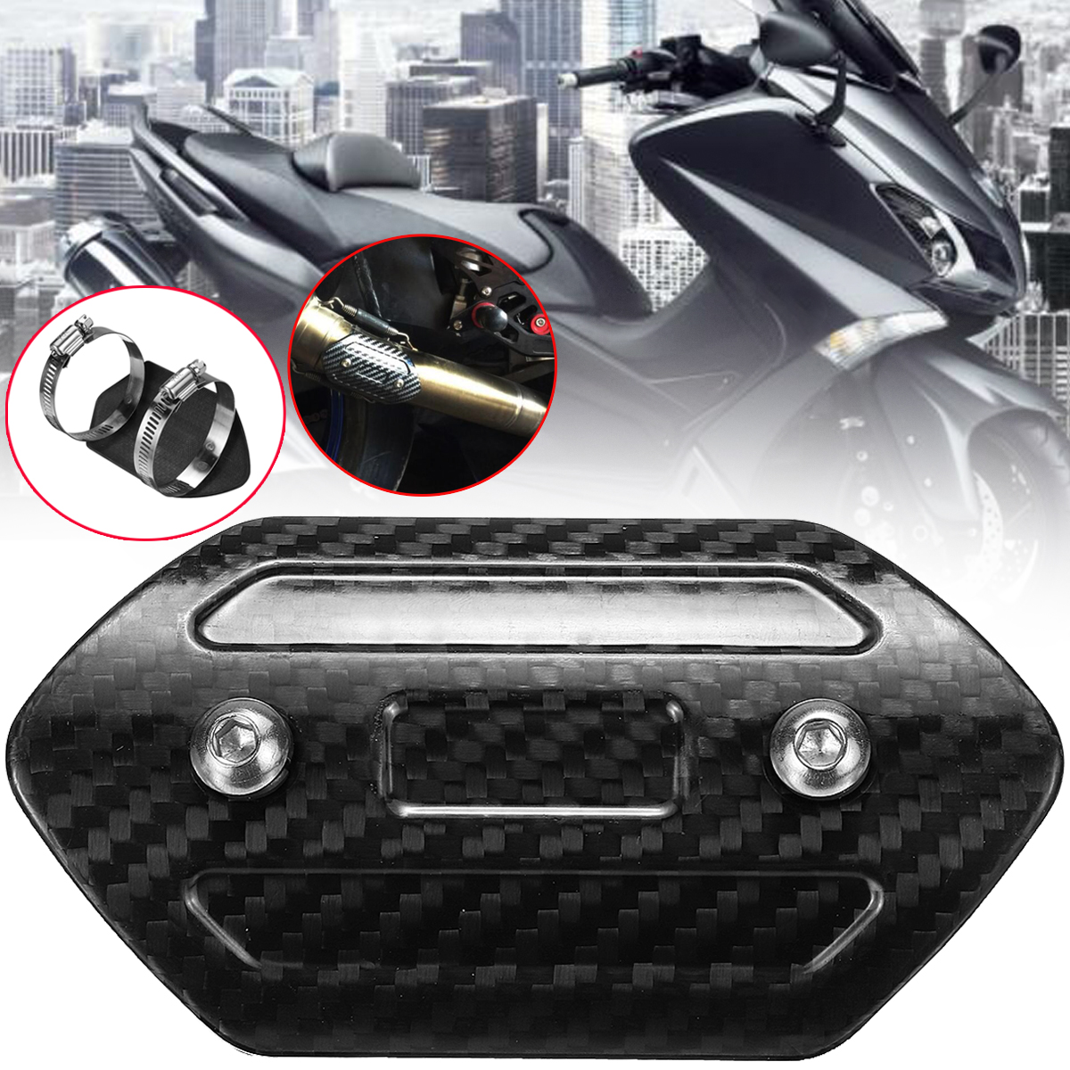 Universal Motorcycle Exhaust Muffler Cover Carbon Fiber Color Protector Heat Shield Cover Guard for Motorcyle Motorcros 110x50mm ...