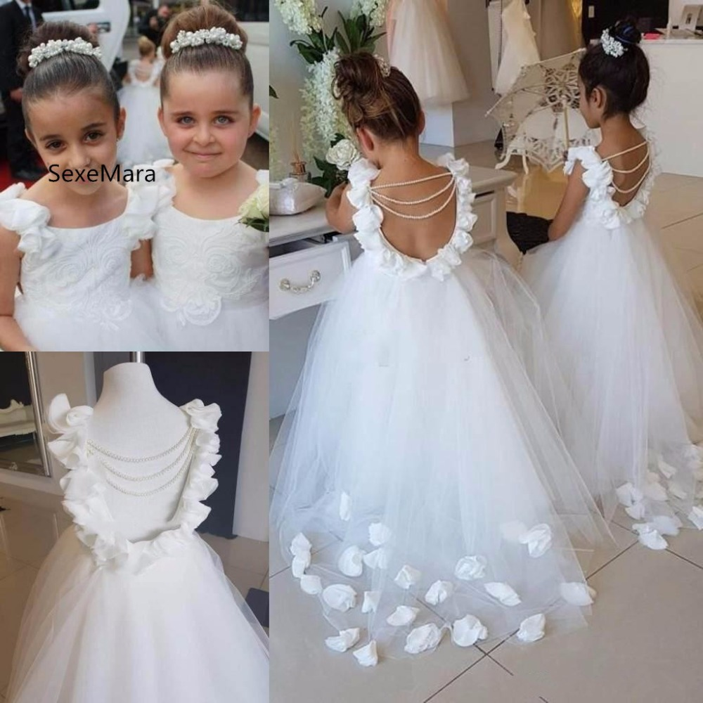 Lovely White   Flower     Girls     Dresses   For Weddings Scoop Ruffles Lace Tulle Pearls Backless Princess Children Birthday Party Gown