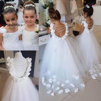 White Lace Flower Girl Dresses Tulle Pageant First Communion Dresses Prom Ball Gown Princess Baby Girl Party Dresses beautiful flower girl dresses lace 2019 appliqued ball gown pageant dresses for girls first communion dresses kids prom dresses