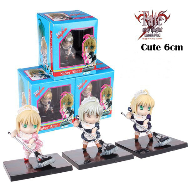 Free Shipping Cute 2.4 Fate Stay Night Saber Alter in Apron Dress Sweeping Boxed 6cm PVC Figure Collection Model Doll Toy Gift saber gholizadeh navid dinparast djadid and hamid reza basseri malaria transmission blocking vaccine candidate in iran