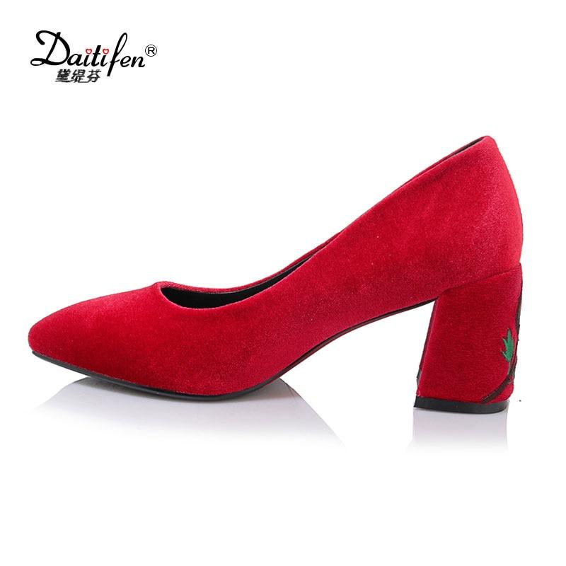 Women Vintage High Heels 2017 Spring Autumn Elegant Green Flock Flower Printing Working Shoes Basic Square Heel Slip-on Pumps цены онлайн