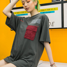 Small Front Pocket Letters Printing Women T-shirt Short Sleeve 2019 Summer Round Neck Women's Tshirt Cotton Tee Couple Clothing men pocket patched round neck tee