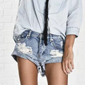 Vintage rasgado agujero franja azul denim shorts women Casual pocket jeans shorts 2016 summer girl corto caliente