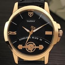 YAZOLE 365 2017 Мужской Световой Моды Роскошь Бизнес Кварцевые Наручные Часы Человек Золотые Часы Черный И Белый