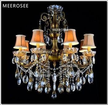 Бронзовая Античная хрустальная люстра Lingting Роскошная латунная хрустальная лампа Lustre Suspension Light MD8504 L8 D750mm H750mm