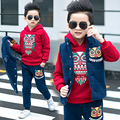 children's clothing child winter set owl thickening sweatshirt 3pcs vest+longsleeve+pants kids boys child casual piece set 4-14