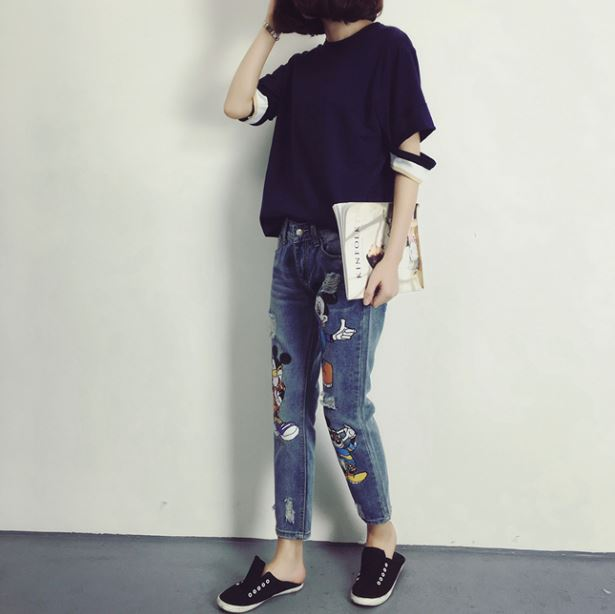 2017 Korean women's spring summer new cartoon loose BF stylish hole large size printing denim ankle length pants jeans female