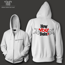 Joey How you doin men women unisex zip up hoodie hooded sweatershirt 800g 82% organic cotton fleece inside Free Shipping