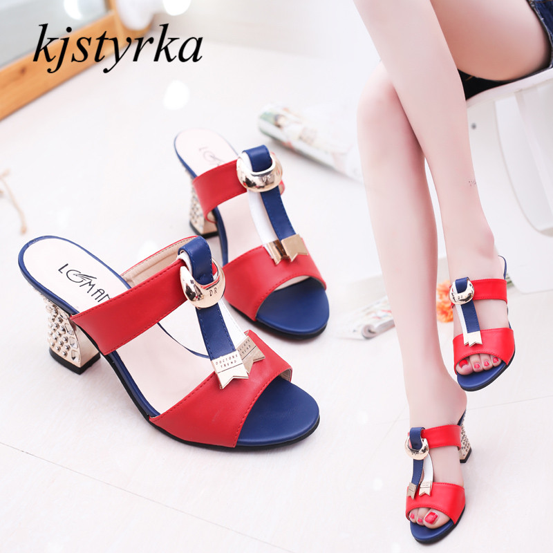где купить kjstyrka sandalias mujer 2018 summer new sexy mesh fish mouth shoes women pumps ladies 7.5cm high heels women's sandals по лучшей цене