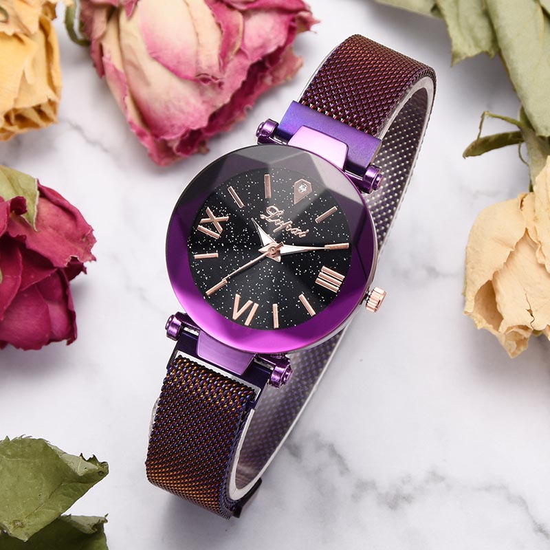 dropshipping wly Women Alloy Mesh Strap Quartz Watch Star Sky Dial Magnetic Buck