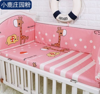 Promotion! 5PCS Baby Bedding Set 100% Cotton Crib Bedding Set bed sheet,include:(bumpers+sheet)