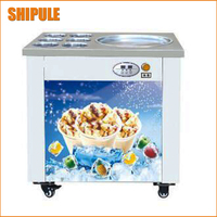 Free delivery single pan with 6 cooling buckets fried ice cream machine ice pan machine ice cream roll machine for sale