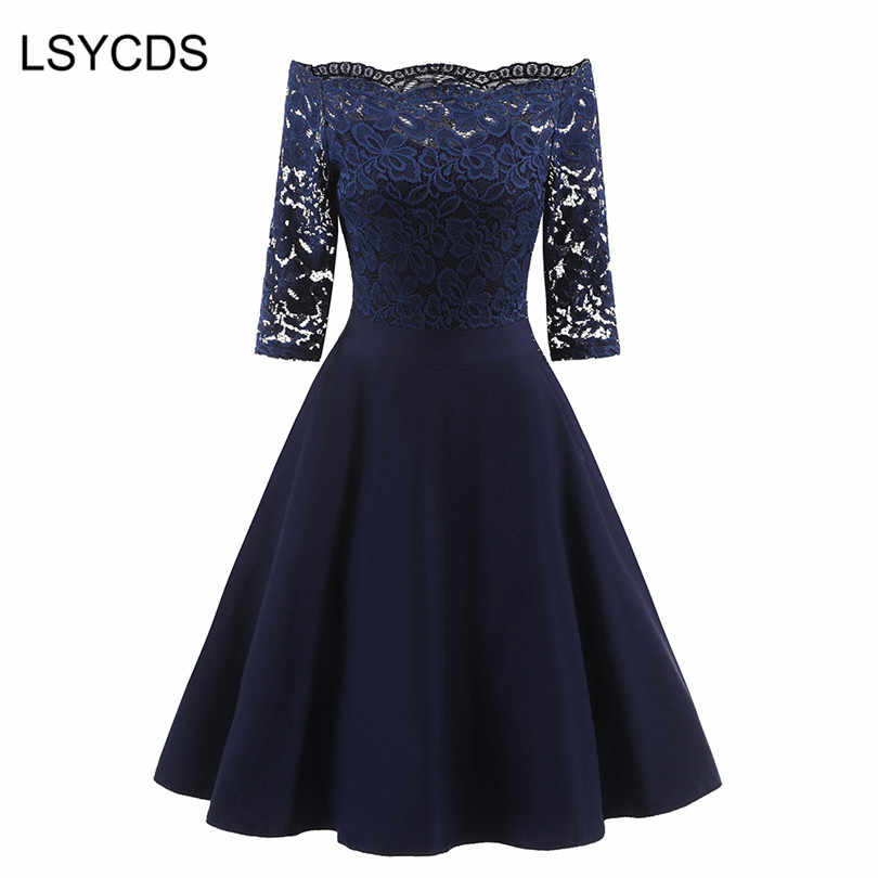 LSYCDS 2018 New Female Dress Sexy Half Sleeve Slash Neck Robe Vintage Retro Casual Party Rockabilly 50s 60s Lace Women Dress