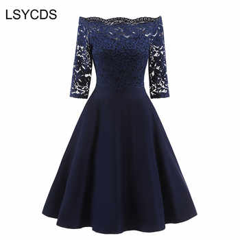 LSYCDS 2019 New Female Dress Sexy Half Sleeve Slash Neck Robe Vintage Retro Casual Party Rockabilly 50s 60s Lace Women Dress - DISCOUNT ITEM  40% OFF All Category