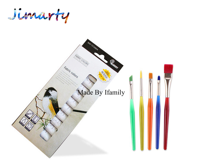 6ml*12color professional Textile Fabric Paint set Non Toxic acrylic paint art set offer paint brush cloth wall painting 650485 001 free shipping for hp pavilion dv4 dv4 4000 series laptop motherboard 650485 001 mainboard 100% tested
