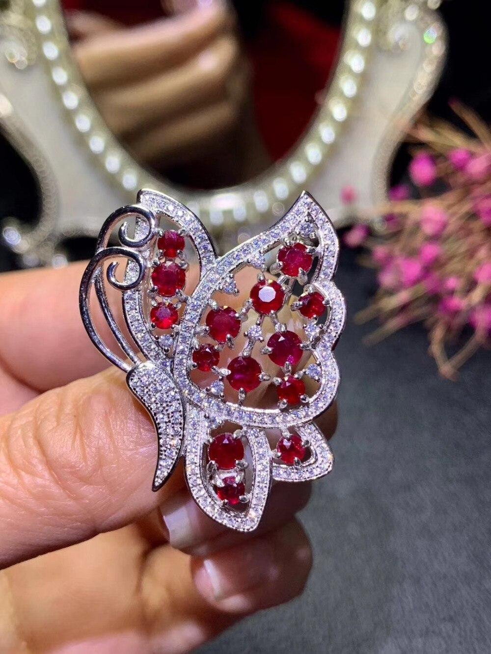 Broches de GEMA de rubí rojo Natural colgante S925 broches de piedras preciosas naturales de plata moda grace mariposa novia boda joyería - 5