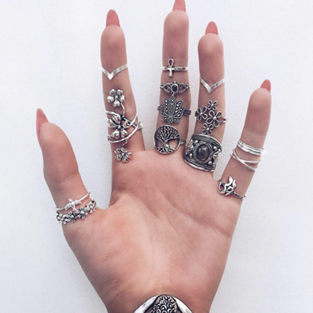 HuaTang Bohemian Antique Silver Ring Geometric Elephant Flower Green Rhinestone Knuckle Rings Midi Finger Anel Rings Jewelry 88