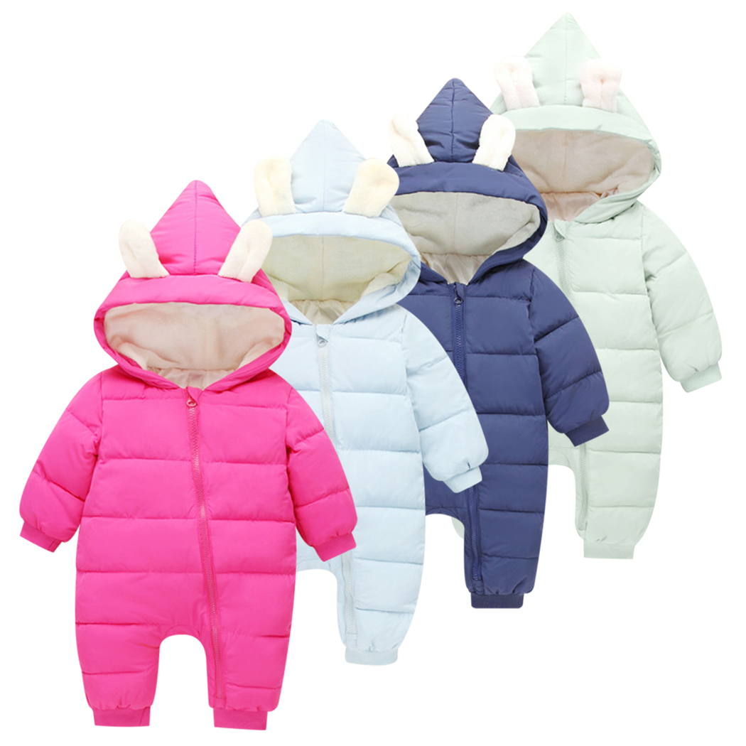 43d833464967 Baby Girls Boys Snowsuit Down Cotton Baby Rompers Hoodies Newborn ...