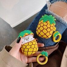 Świeże ananas silikonowe bezprzewodowe słuchawki przypadku ładowania zestaw słuchawkowy Case pokrowiec ochronny pokrywa dla iPhone airpods 1/2 Box