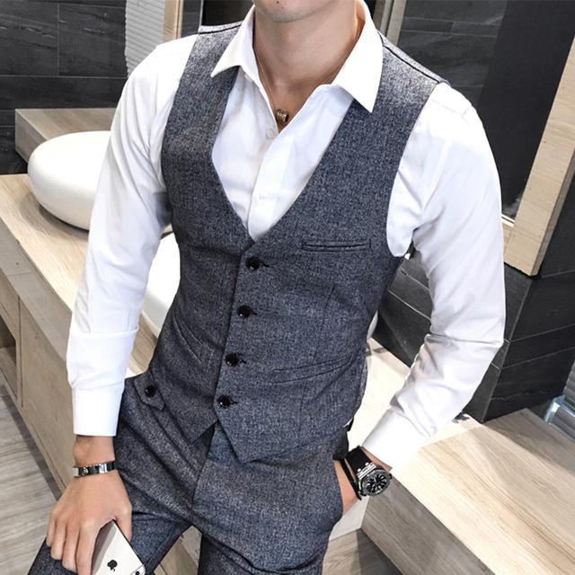 Colete de Inverno de Espessura Colete Homens Moda Britânica Sólidos Slim Fit os homens Se Vestem Terno Colete Único Breasted Casual Partido Colete Gilet 5XL