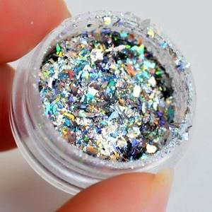 Image 2 - Copos de yuca láser para uñas lentejuelas brillo holográfico en polvo Galaxy Holo Nail Flakes Rainbow Nail Art Paillettes SF2010