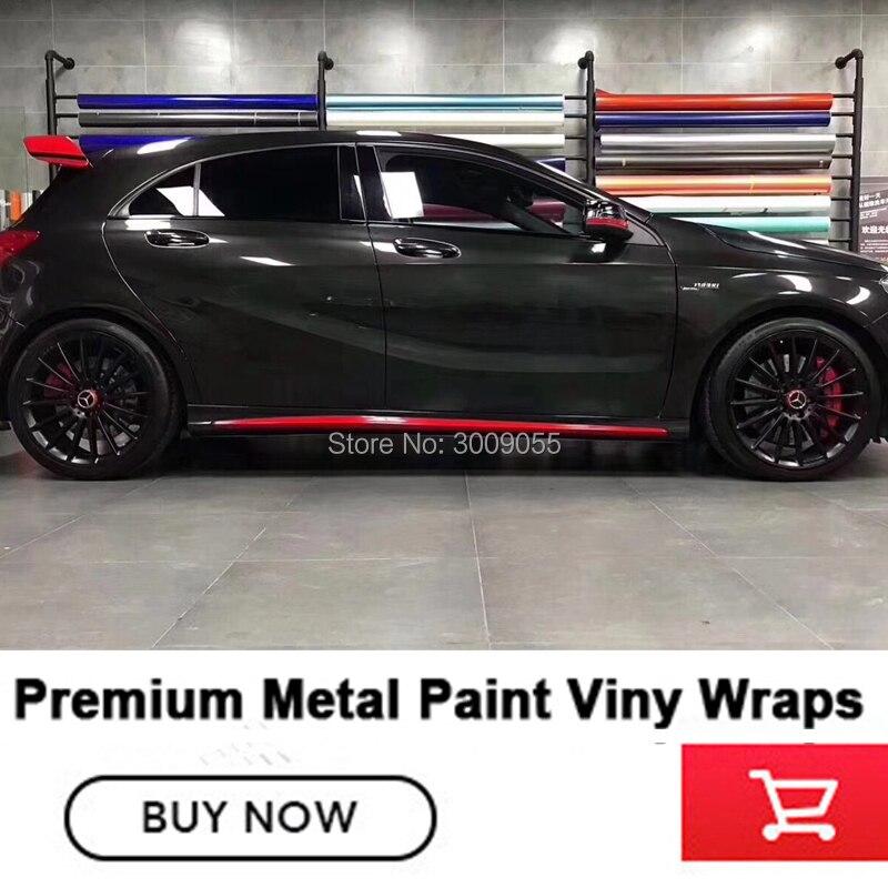 Newest High end Glossy metallic black wrapping film guarantee quality diamond glue Metal paint series