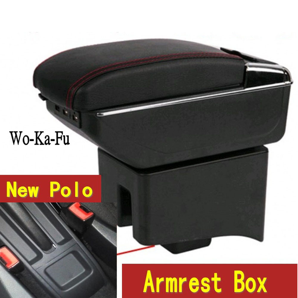 Car Armrest Case For VW Polo Armrest Central Store Content Storage Box With Cup Holder Ashtray