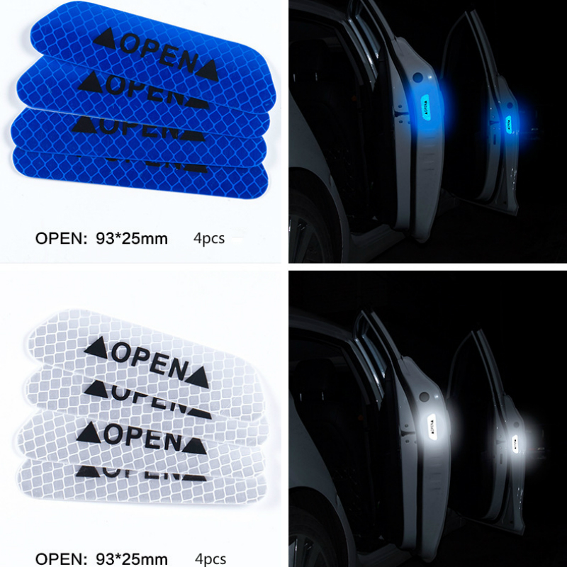 pcmos 4pcs Super Car Door Open Stickers Reflective Tape Safety Warning Decal 14cm Exterior Accessories Reflective Strips New