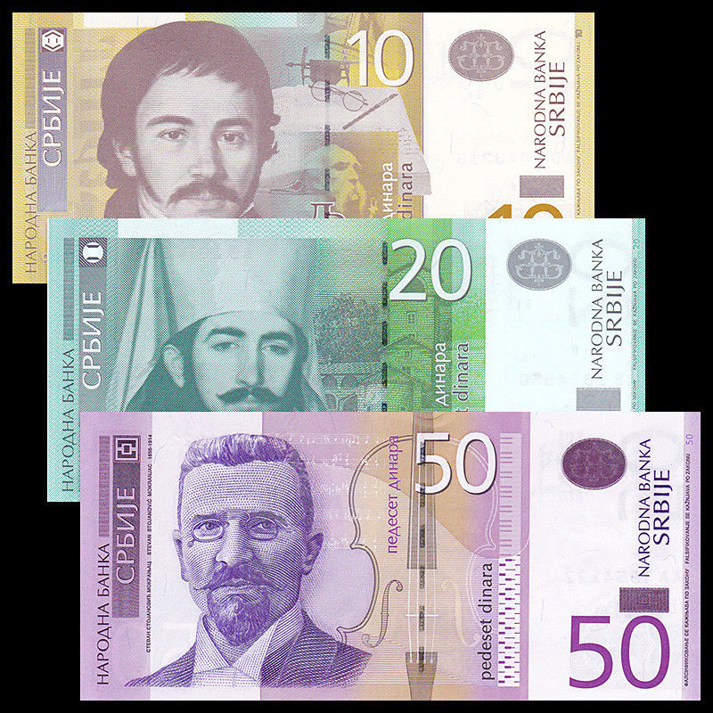 Serbia Set 3 PCS, 10 20 50 Dinara, Random Years, P-54 55 56, UNC,  Original