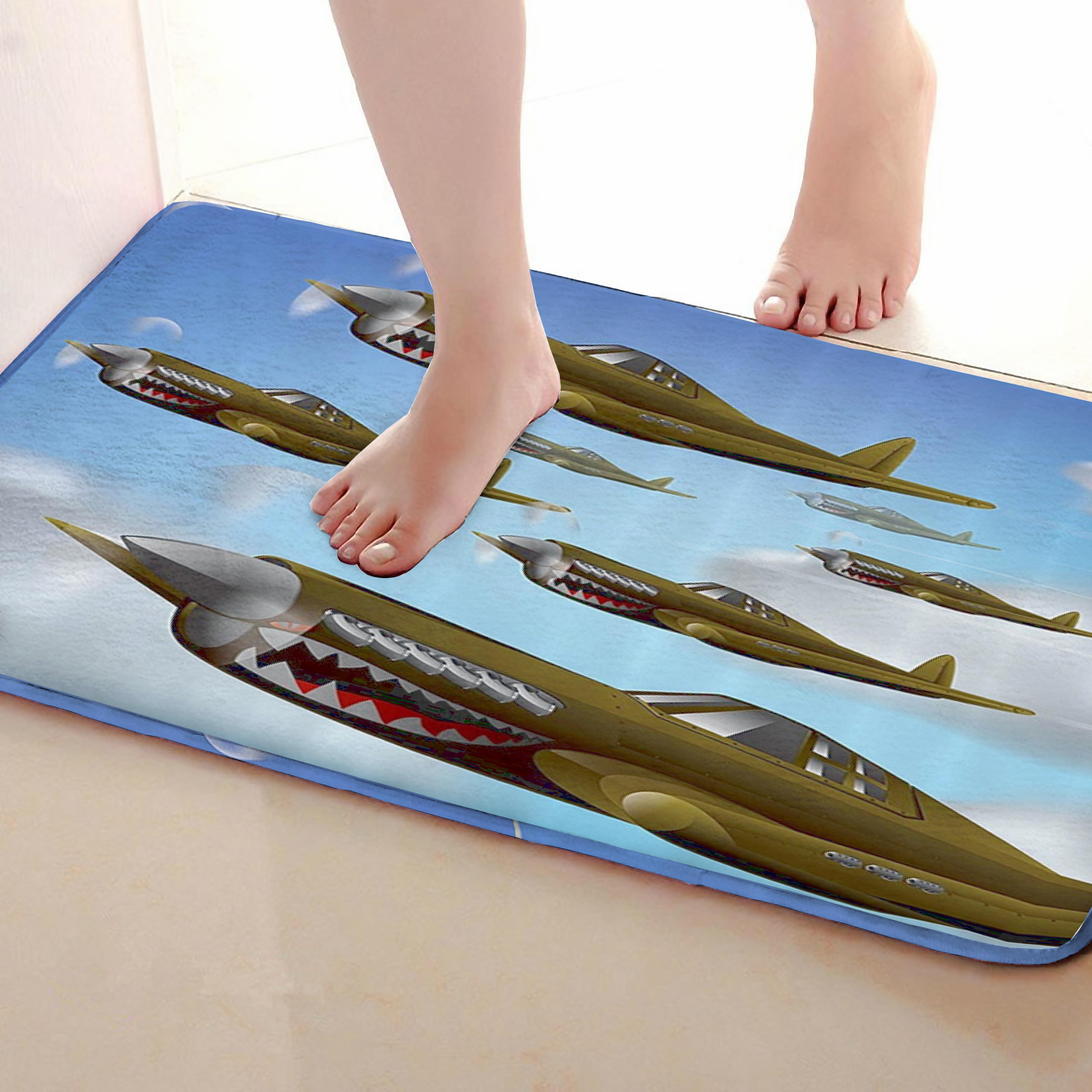 Aircraft Style Bathroom Mat,Funny Anti skid Bath Mat,Shower Curtains Accessories,Matching Your Shower Curtain