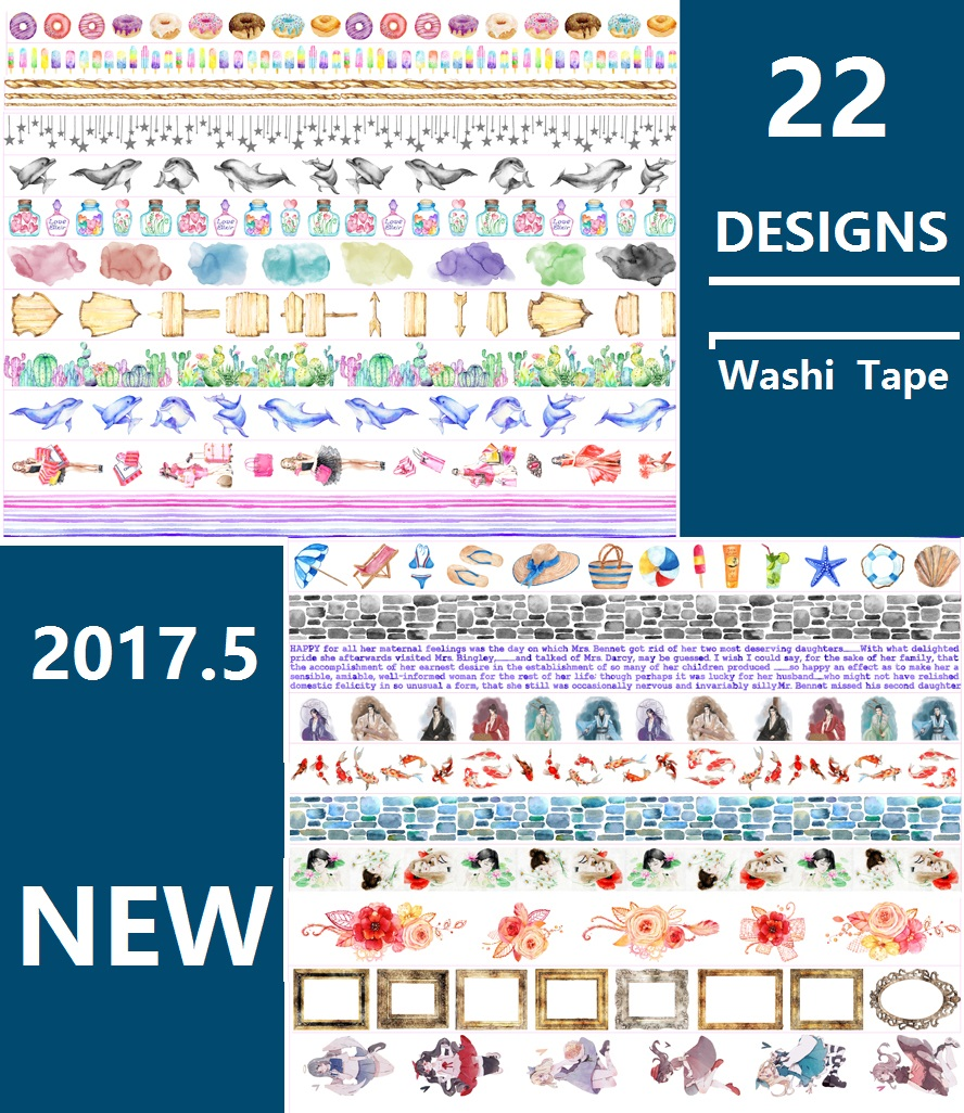22Designs Flowers/Dolphin/Girls/Goldfish/Feather/Cake Japanese Washi Decorative Adhesive DIY Masking Paper Tape Sticker Label