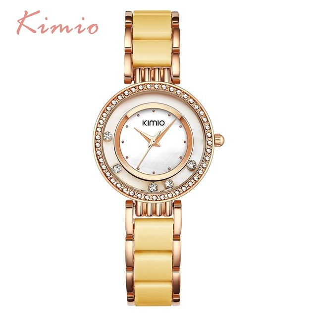 KIMIO Luxury Brand Rolling Drill Diamond Watch Women Clock Rose Gold Bracelet Wa
