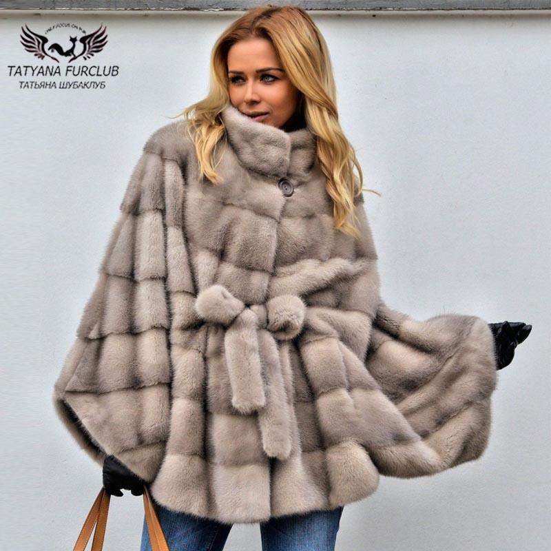 Tatyana Furclub réel manteau de vison de fourrure pour les femmes Type de chauve-souris manteaux de fourrure de vison en vrac longue manteau de fourrure naturelle en cuir véritable vêtements de fourrure