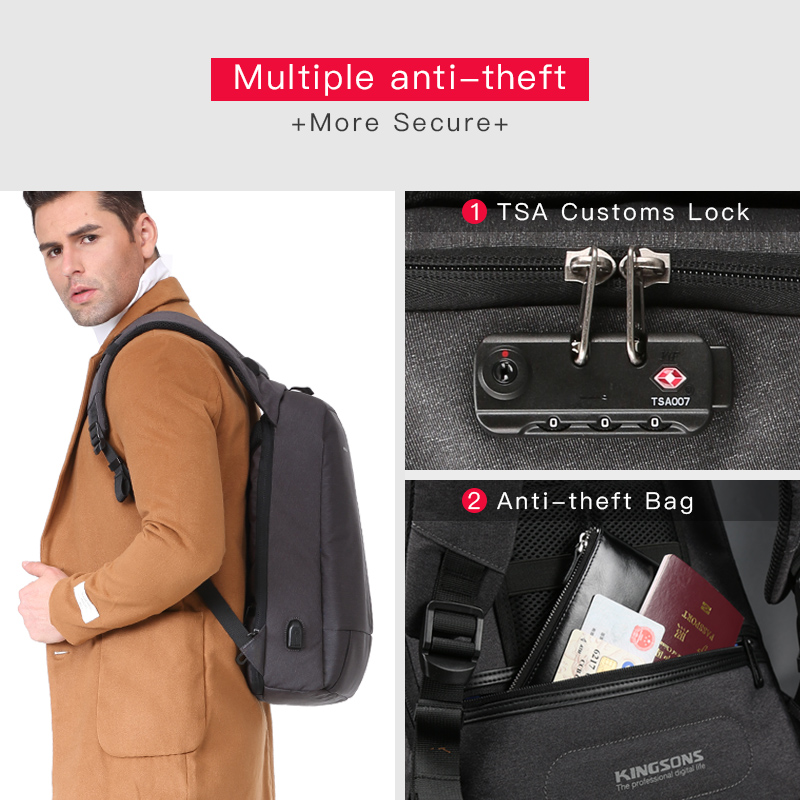 Kingsons Anti diebstahl Rucksack für Männer Reisetasche Jungen Schule Rucksack 13,3/15,6 zoll Laptop Computer Tasche Mode Männlichen mochila-in Rucksäcke aus Gepäck & Taschen bei  Gruppe 2