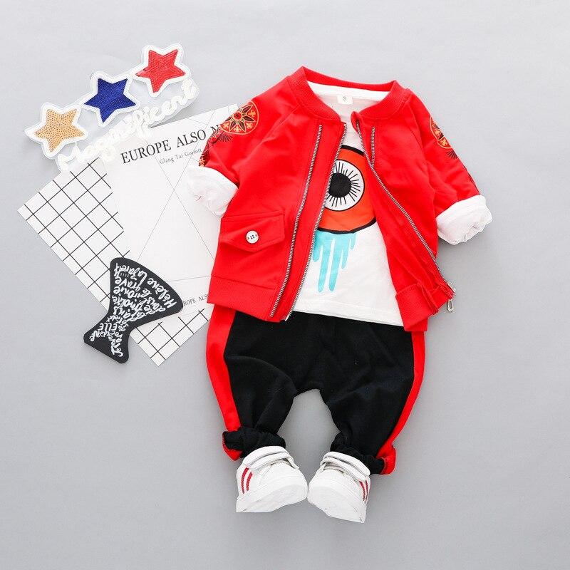 Ensembles de vêtements pour enfants automne bébé garçons vêtements costumes chemise grand oeil + veste de broderie + pantalon infantile décontracté Kid vêtements costumes