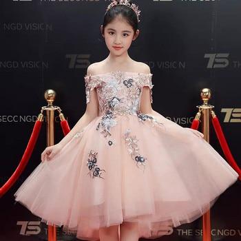 Children Girls 2019 Summer Elegant Shoulderless Embroidery Flowers Birthday Wedding Party Front Short Back Long Mesh Dress Wear