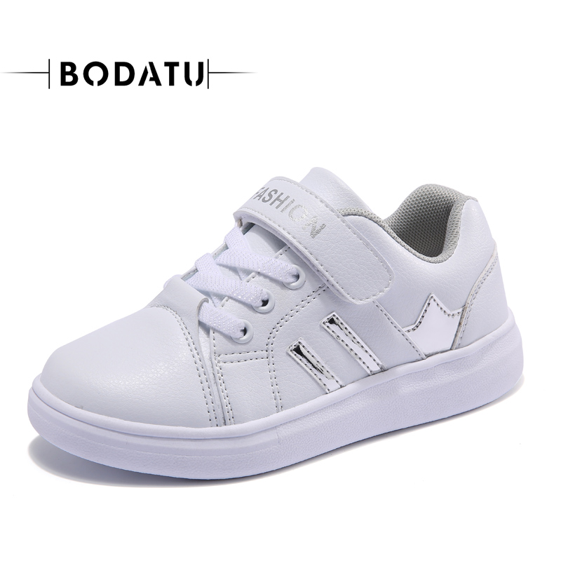 BODATU kids casual shoes girls boys anti-slippery children spring autumn hook&loop striped black white breathable shoes DS1627 children s shoes girls boys casual sports shoes anti slip breathable kids sneakers spring fashion baby tide children shoes