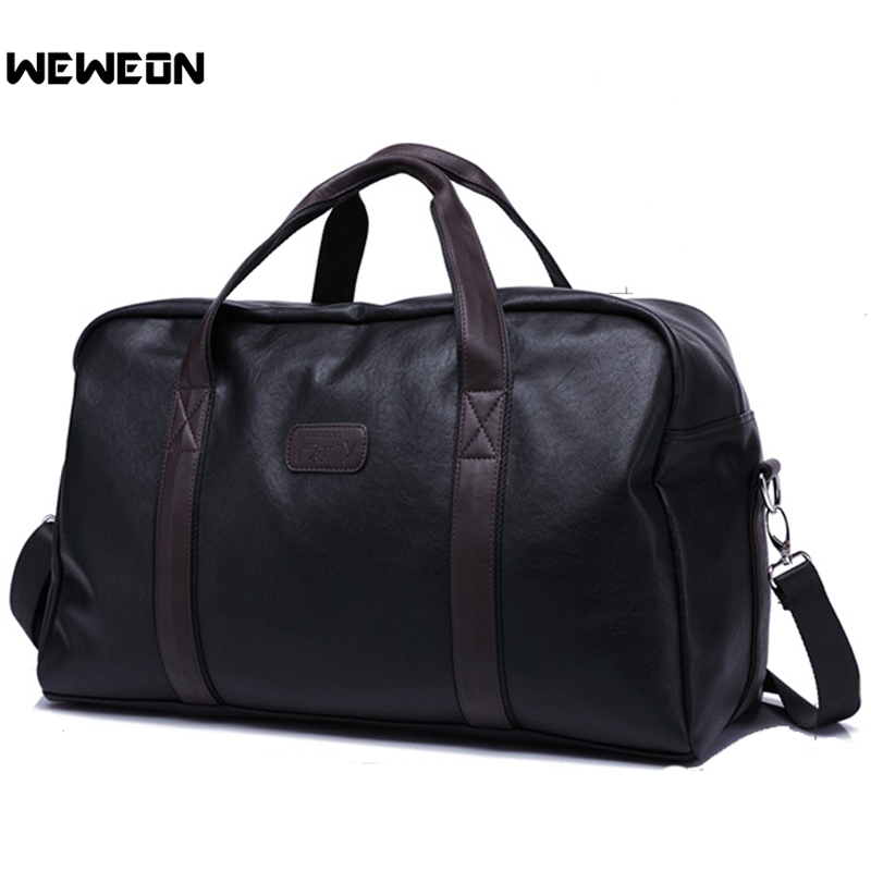 Waterproof PU Leather Men Women Sports Gym Bags Unisex High Quality Fitness Duffle Bags Outdoor Large Capacity Black Travel Bag