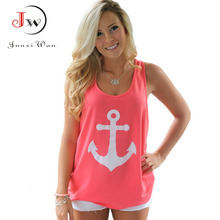 Sleeveless T Shirt Women Back Bow Anchors Print Sexy Girl Shirts Tops Tees Plus size tshirt Cropped Feminino Camisas Femininas