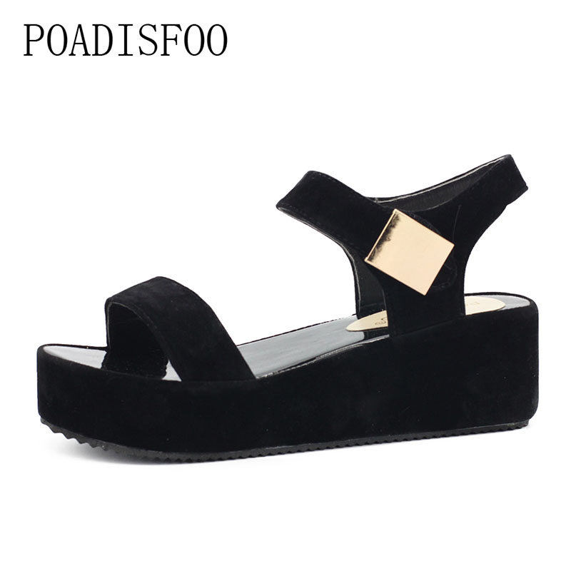 Woman Sandals 2017 Summer Women Concise Platform Open Toe Casual Shoes Woman Fashion Thick Bottom Wedges Sandals.HYKL-K8 2017 summer shoes woman platform sandals women slippers leather casual open toe gladiator wedges women shoes zapatos mujer