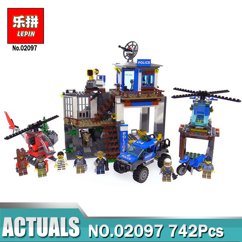 Lepin 02097 City Series The Mountain Police Headquarter Set Building Blocks Bricks Toys Compatible LegoING 60174 Model for Boy lepin 02006 815pcs city police series the prison island set building blocks bricks educational toys for children gift legoings