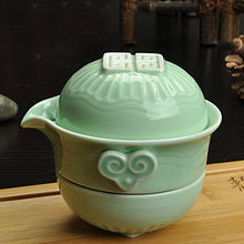 Chinese KungFu Tea Tureen One Pot of Two Cups Travel Gaiwan Set Handmade E