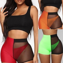 2019 Women Casual Shorts Mesh Patchwork Design See Through Fashion High Waist Slim Sexy Ladies Streetwear