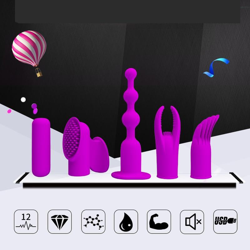 Mini vibrateur de doigt de balle de sexe définit 12 fonctions stimulateur de Vibration USB Rechargeable imperméable masseur jouet sexuel pour les Couples