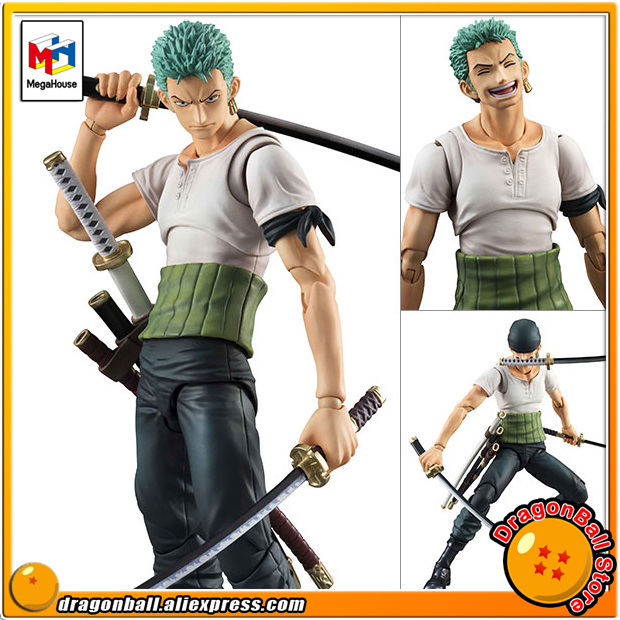 Japan Anime ONE PIECE Original MegaHouse Variable Action Heroes Action Figure - Roronoa Zoro PAST BLUE one piece action figure roronoa zoro led light figuarts zero model toy 200mm pvc toy one piece anime zoro figurine diorama