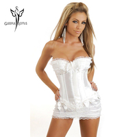 Blanco sexy falda caliente entrenador cintura corsés y bustiers de cintura de cincher del corsé del vestido de las mujeres que adelgaza body shaper espartilho