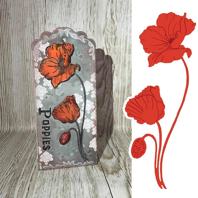 Metal Cutting Dies Poppies Flower DIY Scrapbooking Paper Card Making Stencils