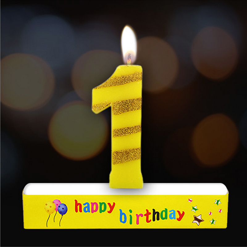 Birthday Digital Candle 0-9 Baby Party Celebration Cake Decorated Happy Birthday With Yellow Gold Plated Digital Number Candle